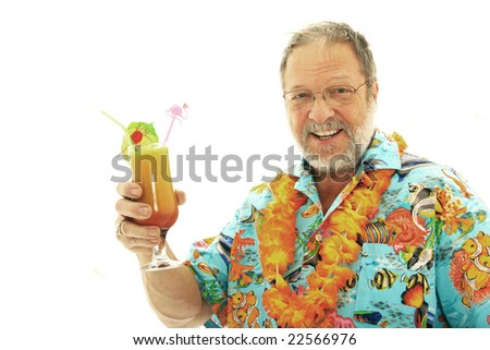 Senior man with exotic drink