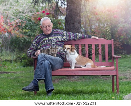 Senior man with his pets sitting on bench in the park - stock photo
