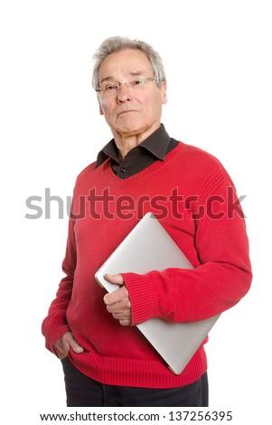 Senior Man with Laptop - on White Background - stock photo