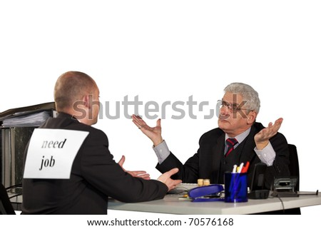 senior manager rejecting job applicant - stock photo