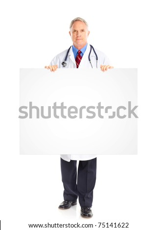 Senior medical doctor with stethoscope. Isolated over white background - stock photo
