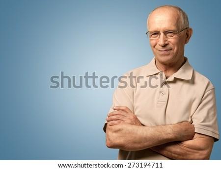 Senior Men, Isolated, Senior Adult. - stock photo
