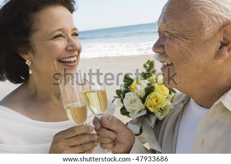 Senior Newlyweds Sharing a Toast - stock photo