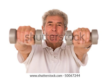 Senior older man lifting weights during gym workout session