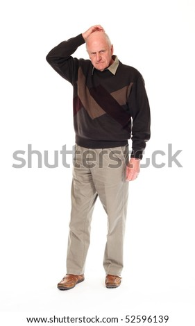 Senior older retired man on white background, scratching head thoughtfully - stock photo