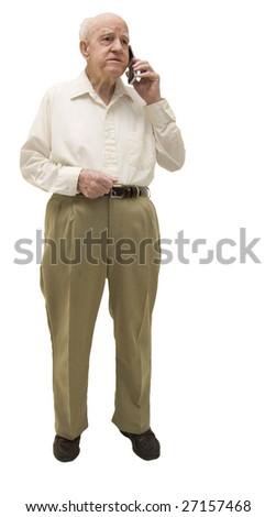 Senior on cell phone Isolated on White - stock photo