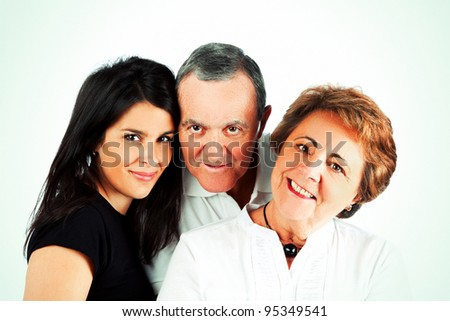 Senior Parents with a Young Daughter - stock photo