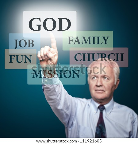 Senior pastor showing the priorities in our life - stock photo