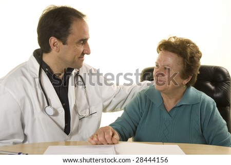 Senior patient at doctor's consultation on white background - stock photo