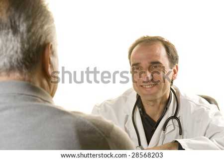Senior patient at doctor's consultation on white background