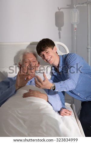 Senior patient having a video chat on the phone
