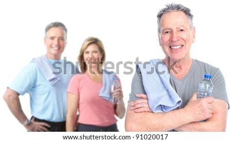 Senior people healthy lifestyle. Over white background. - stock photo