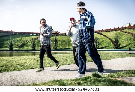 Senior people running in the park
