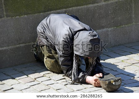 Senior person begging for food or help - stock photo