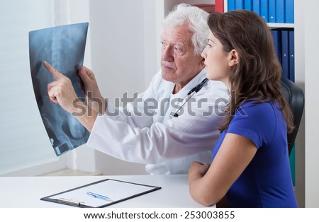 Senior physician showing rtg to his patient