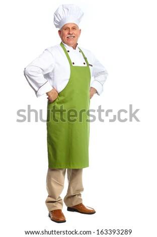 Senior professional chef man. Isolated over white background - stock photo