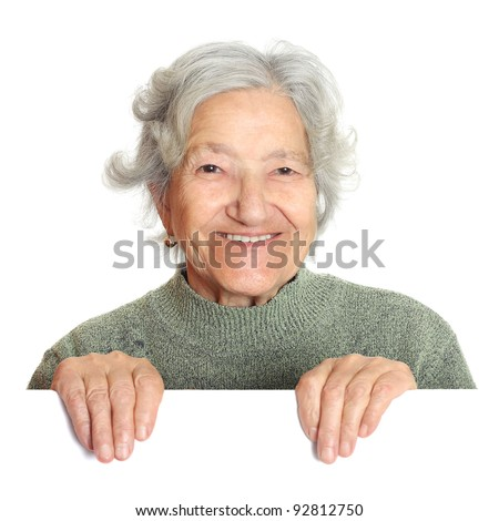 Senior showing your product - stock photo