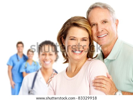 Senior smiling couple in love. Over white background. - stock photo