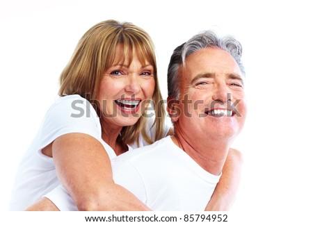 Senior smiling couple in love. Over white background. - stock photo