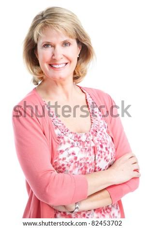 Senior smiling healthy woman. Over white background. - stock photo