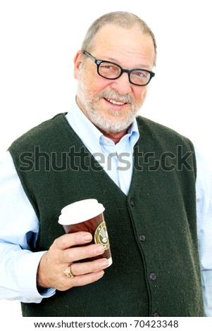 Senior smiling man having a coffee to go on a white background