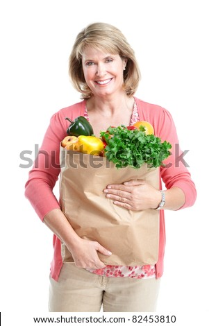Senior smiling shopping woman. Over white background.