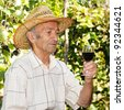 Senior smiling viticulturist holds wineglass - stock photo