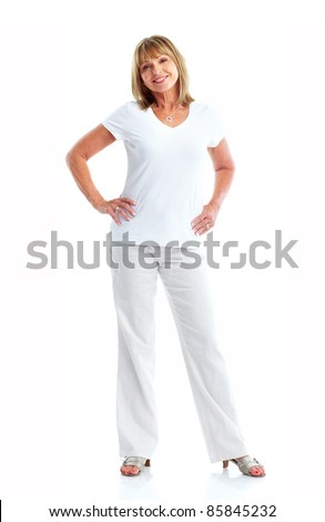 Senior smiling woman. Isolated over white background. - stock photo
