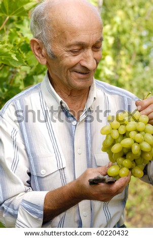 Senior smiling worker holds grapes