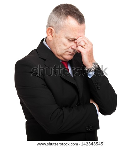 Senior stressed businessman - stock photo