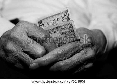 Senior Struggling Financially - stock photo