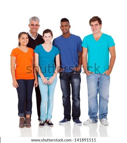 senior teacher and teenage students isolated on white - stock photo