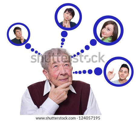 Senior thinking about his grandchildren - stock photo