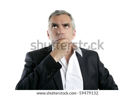 senior thinking serious gesture businessman hand in face gray hair - stock photo