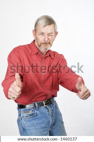 Senior thumbs up, cool man - stock photo