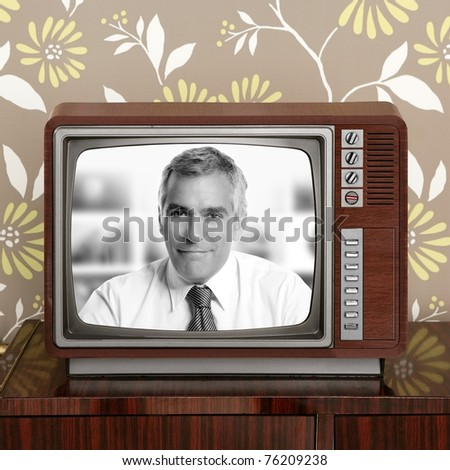 senior tv presenter in retro wood television vintage wallpaper [Photo Illustration] - stock photo