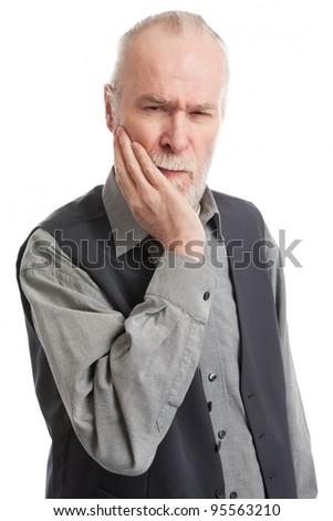 Senior with headache isolated on white background - stock photo