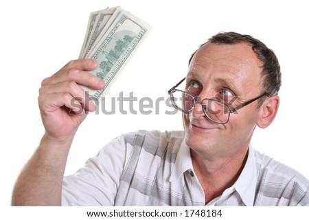 senior with money - stock photo