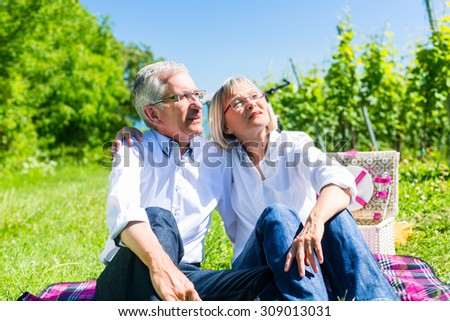 Senior woman and man having picnic on meadow in summer sitting in the sunlight - stock photo