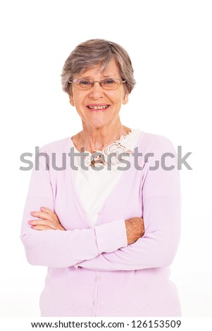 senior woman arms folded isolated on white - stock photo