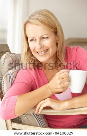 Senior woman at home - stock photo