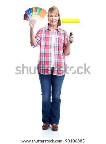 Senior woman doing renowation at home. Painter. Isolated on white background. - stock photo