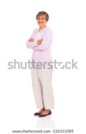 senior woman full length portrait standing on white background - stock photo