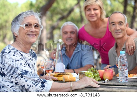 Senior woman having a picnic with friends - stock photo