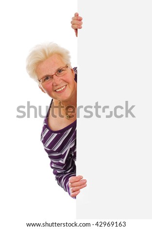 senior woman holding a blank over white background - stock photo