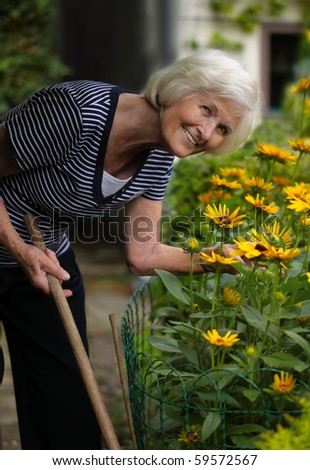 Senior woman holding stick of a garden tool and bending over yellow flowers,looking at camera - stock photo
