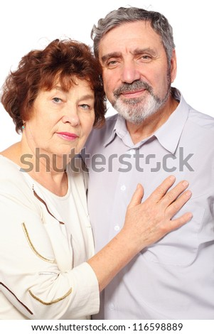 senior woman hug man, couple, half body, isolated