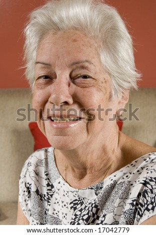 Senior woman in her living room