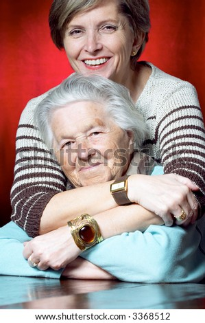 Senior woman in her nineties with her daughter