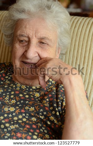 senior woman indoor - stock photo